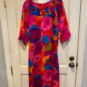 Vtg 1960's Hawaiian Togs Pink Gown Hibiscus Floral